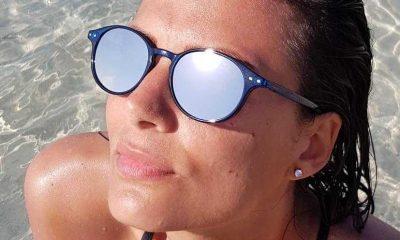 Lunettes de soleil VINTAGE bleu jean brillant verres miroir